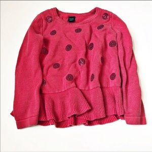 Girls 2T Red/pink polka dot sweater